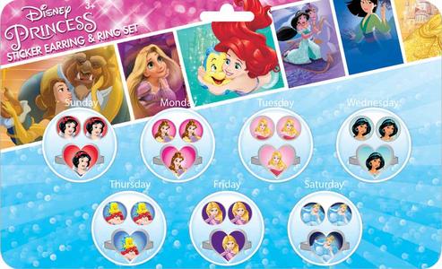 Giocattolo Principesse Disney. Orecchini Sticker E Anelli Per Tutta La Settimana Joy Toy