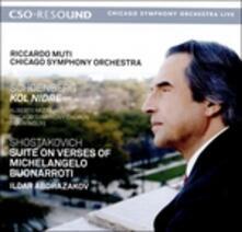 Suite su versi di Michelangelo Buonarroti - Kol Nidre - CD Audio di Arnold Schönberg,Dmitri Shostakovich,Riccardo Muti