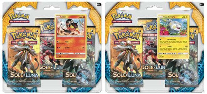 Pokemon Sole Luna 3 buste blister+moneta