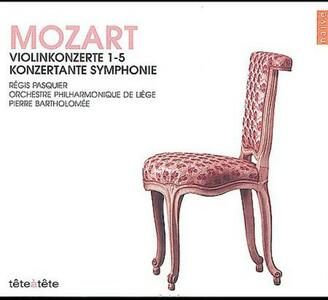 Concerti per Violino n.1, n.2, n.3, n.4, n.5 - CD Audio di Wolfgang Amadeus Mozart,Pierre Bartholomée,Orchestra Filarmonica di Liegi,Régis Pasquier