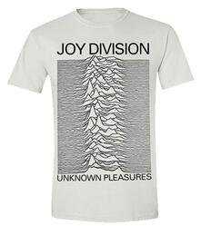 T-Shirt Unisex Tg. L White Joy Division. Unknown Pleasures