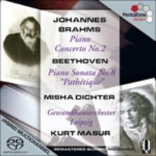 Sonata per pianoforte n.8 - Concerto per pianoforte n.2 - SuperAudio CD ibrido di Ludwig van Beethoven,Kurt Masur,Gewandhaus Orchester Lipsia,Misha Dichter