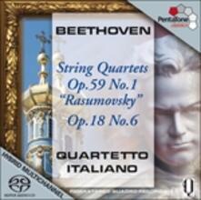 Quartetti op.59 n.1, op.18 n.6 - SuperAudio CD ibrido di Ludwig van Beethoven,Quartetto Italiano