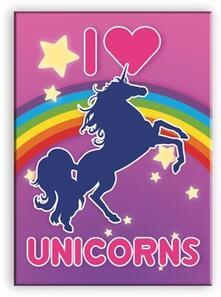 Unicorns I Love Flat Magnet