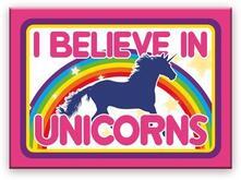 Unicorns I Believe Flat Magnet