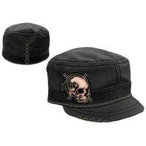 Cappellino Pike. Black Cadet with Skull Green