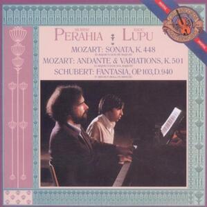 Sonata per 2 pianoforti K448 / Fantasia per pianoforte a 4 mani D940 - CD Audio di Wolfgang Amadeus Mozart,Franz Schubert,Murray Perahia,Radu Lupu