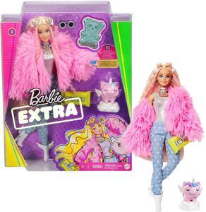 Giocattolo Barbie Extra Bambola con giacca lanosa rosa e maialino-unicorno, 10 Accessori alla Moda, Giocattolo per Bambini 3+ Anni Mattel