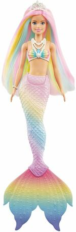 Barbie Bambola Sirena Cambia Colore con Capelli Arcobaleno,Giocattolo per Bambini 3+Anni. Mattel (GTF89)