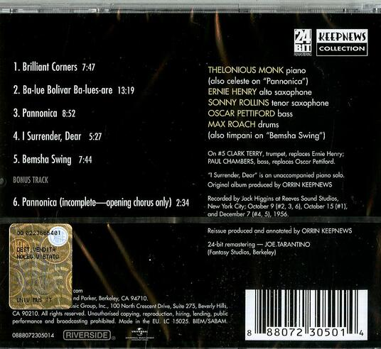 Brilliant Corners - CD Audio di Thelonious Monk - 2