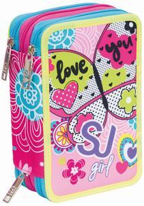 Astuccio accessoriato 3 zip Seven SJ Gang Girl Rosa