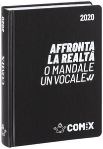 Diario Comix 2019-2020, 16 mesi, standard giornaliero Nero scritta bianca