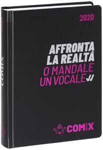 Cartoleria Diario Comix 2019-2020, 16 mesi, mini giornaliero Nero scritta fucsia Comix
