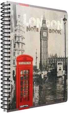 Quaderno maxi A4 con spirale Cartomania Metropol a righe Londra London Phonebox