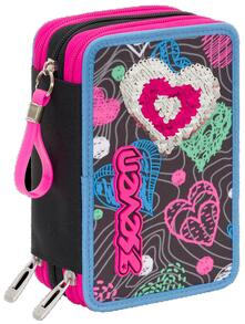 Astuccio accessoriato 3 zip Seven Special Edition Shineheart Nero