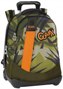 Zaino Trolley organizzato Comix Flash Jungle Verde militare. Trolley staccabile