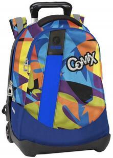 Zaino Trolley organizzato Comix Flash Surf Blu-Verde-Arancione. Trolley staccabile