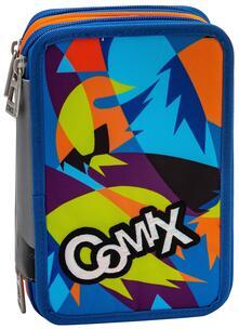 Astuccio accessoriato 3 zip Comix Flash Surf Blu-Verde-Arancione