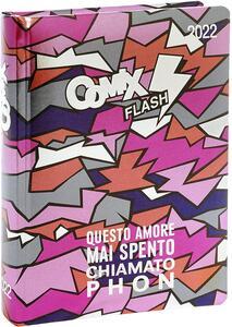 Cartoleria Superdiario Comix Flash 2021-2022, 13 mesi, datato, Rosa - 13,5 x 18,5 cm Comix
