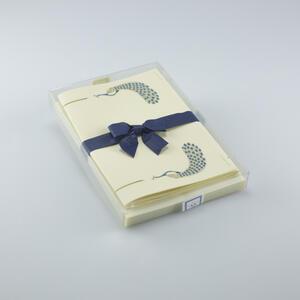"""Carta da lettere con disegno in stile liberty """"Pavone blu"""". 10 fogli e 10 buste - 16,5x23"""