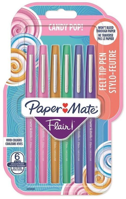 Penna Papermate Flair-Nylon Candy Pop Colori Assortiti - Blister da 6