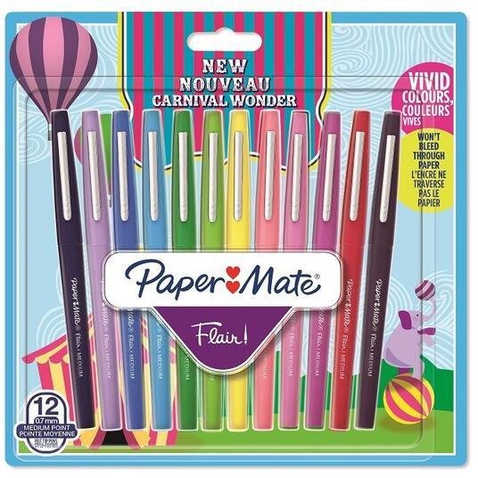 Penna Papermate Flair-Nylon Carnival 12 Colori Assortiti