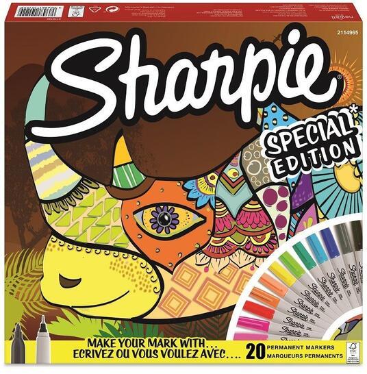 Pennarello indelebile Sharpie Fine & Ultrafine Conf Spec Rhino Colori Assortiti - Blister da 20