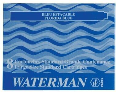 Cartucce standard per stilografica Waterman nero. Confezione da 8