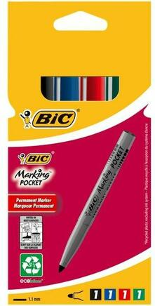 Marcatore Bic permanent marker 1,1 mm. Confezione da 4 colori assortiti