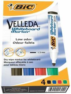 Marcatore per lavagne Bic Velleda 1,5 mm. Confezione da 4 colori assortiti