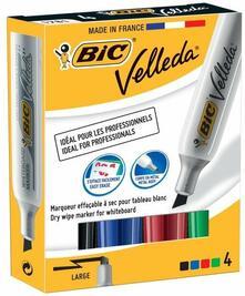 Marcatore Bic Velleda punta scalpello 3,5-5,5 mm. Confezione 4 colori assortiti