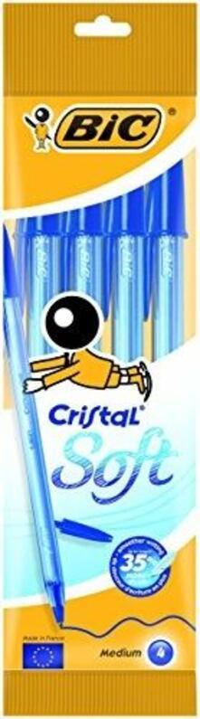 Penna a sfera Bic Cristal Blister Soft Blu, 4 pz.