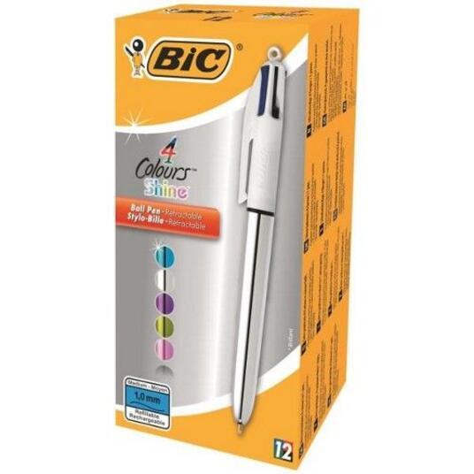 Penna a sfera Bic a scatto 4 colori Shine Silver, Grigio - 3