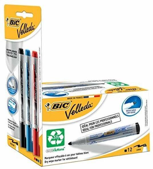 Velleda 942234–Pack di 12pennarelli per lavagna bianca e 3Prenotazioni di inchiostro, colore: nero