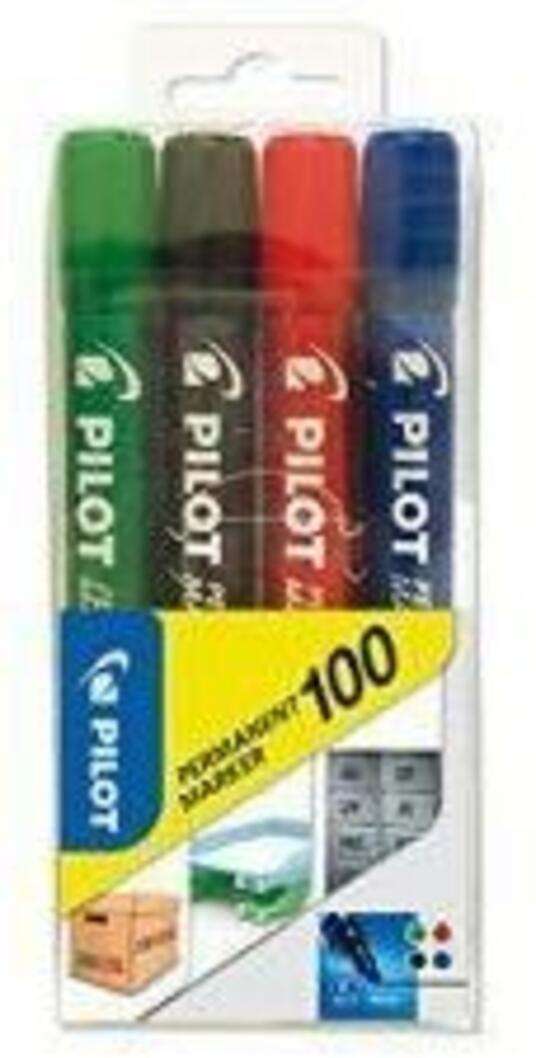 Pilot Permanent Marker 100  Punta Tonda 4.5 mm  Tratto 1 mm  Colori Assortiti (Nero  Blu  Rosso  Verde)  Astuccio da 4 pz