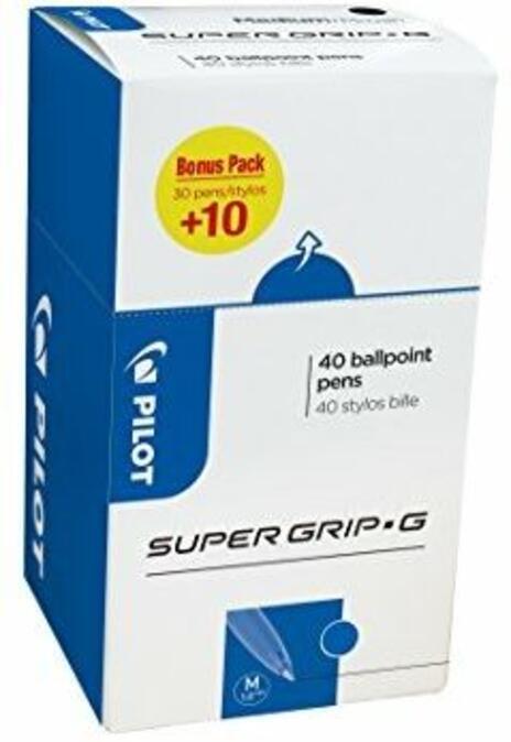 Pilot super grip g stick penna a sfera media Line Value Pack–blu (confezione da 40) Blue