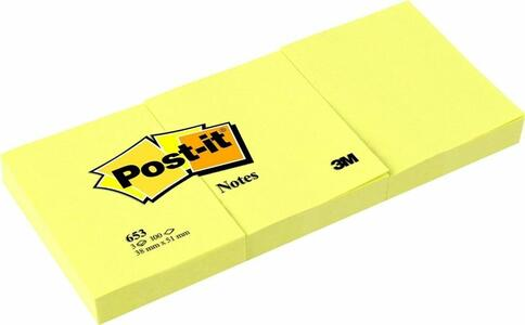 3M Post-it. 3x100 Foglietti Post-it Colore Giallo Canary 38mmx51mm