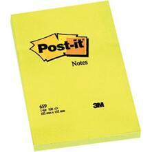 3M Post-it. 100 Foglietti Post-it Colore Giallo Canary 102x152mm. 6 Pz