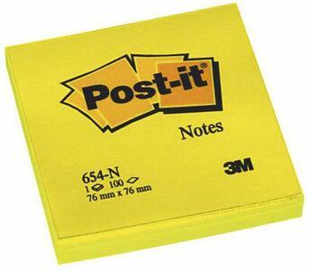 Cartoleria 3M Post-it. 100 Foglietti Post-it Colore Giallo Neon 76x76mm. 6 Pz Post-it