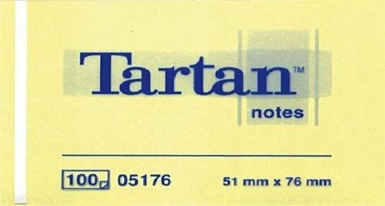 Cartoleria 3M Post-it. 100 Foglietti Tartan Colore Giallo Light 51x76mm Post-it