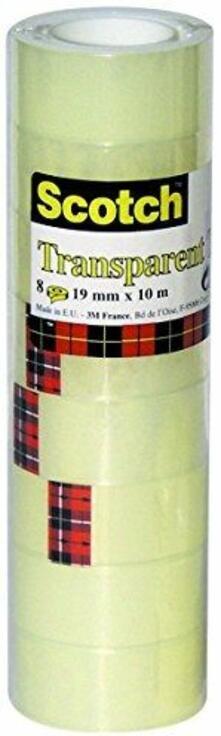 3M Post-it. Nastro Adesivo Scotch Trasparente Acrilico Ufficio 19mmx10m