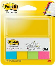 3M Post-it. Segnapagina in Carta con Supporto in Cartoncino. 4 Colori Ultra