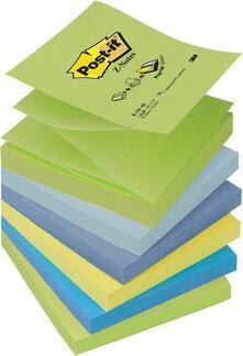 Foglietti Post-It Z-Notes Per Dispenser - Colori Dream Assortiti (1 Verde Pastello, 1 Blu Cielo,1 Blu Notte,1 Giallo Neon,1 Blu Ultra, 1 Verde Neon)