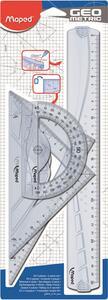 Kit disegno 4 pezzi (riga Geometric 30 cm, squadra 21 cm - 45° + squadra 21 cm - 60°, goniometro 12 cm 180°)