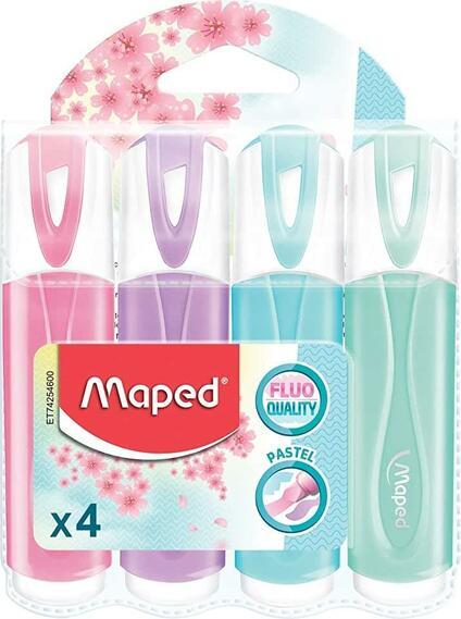 Maped - Evidenziatori, colori pastello, confezione da 4, colori assortiti