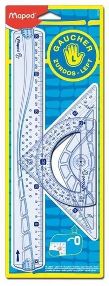 Kit disegno 3 pezzi (riga Geometric 30 cm, squadra 21 cm - 45°, goniometro 12 cm 180°). Per mancini