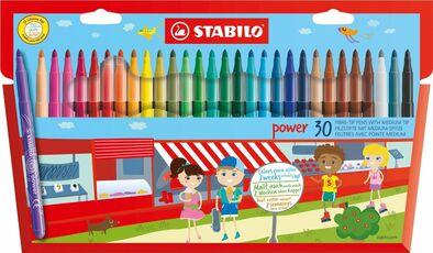 Cartoleria Pennarelli Stabilo Power. Confezione in cartone con 30 colori assortiti Stabilo