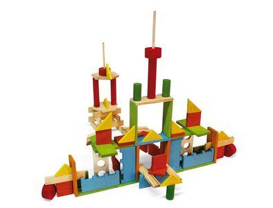 Giocattolo Tecapì Multiforme 100 mattoncini in legno Jeujura 1