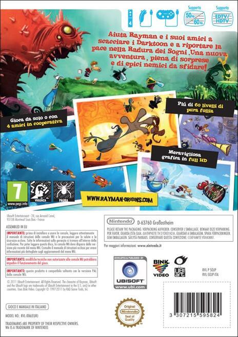 Ubisoft Rayman Origins Wii videogioco Nintendo Wii Basic ITA - 2