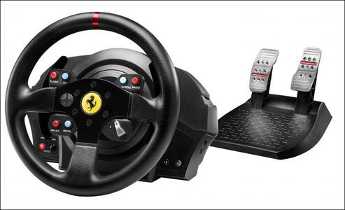 Thrustmaster T300 Ferrari GTE Sterzo + Pedali PC, Playstation 3, PlayStation 4 Nero - 10